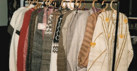 Some hand knitted woollen creations from a Shirbaa collection in the 1980s